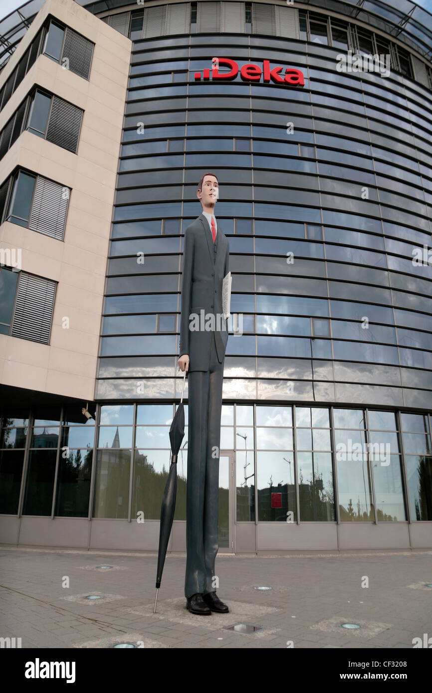'The Tall Banker' sculpture outside the headquarters of the Deka Bank, Kirchberg Plateau, Luxembourg City, - Stock Image