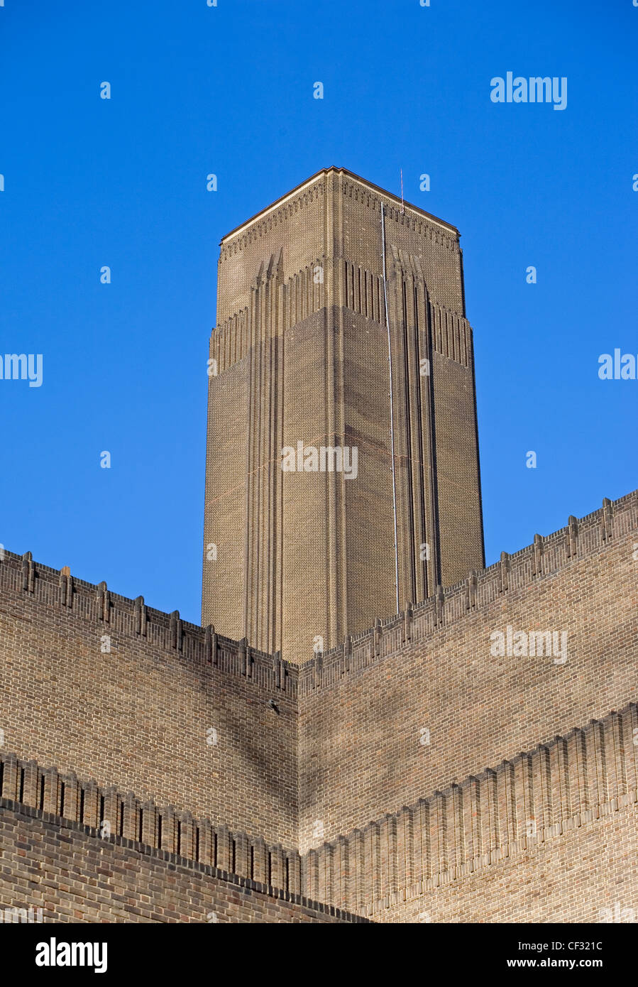 The chimney of the former Bankside power station now home to the Tate Modern that houses international modern and - Stock Image
