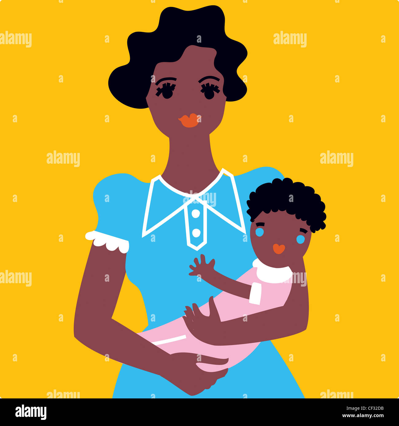 Illustration of female short wavy black hair, wearing a blue dress, holding newborn baby both hands, smiling, looking Stock Photo