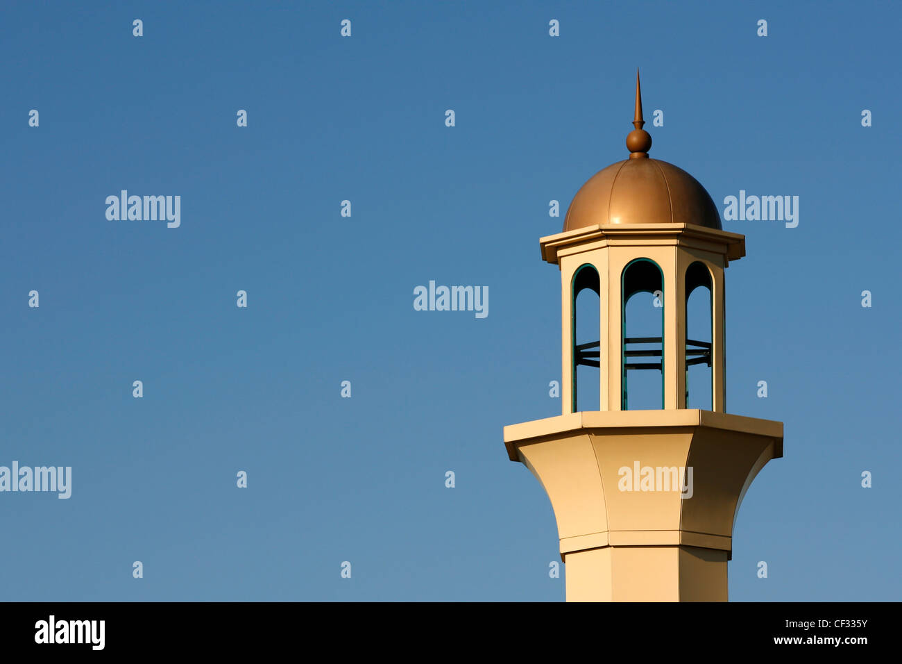 A minaret on the Darul Barakaat Mosque, one of the largest mosques in Birmingham, in the Bordesley Green area. - Stock Image