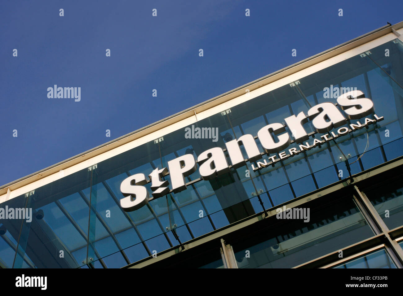 St Pancras International Station sign at the new home of Eurostar. - Stock Image
