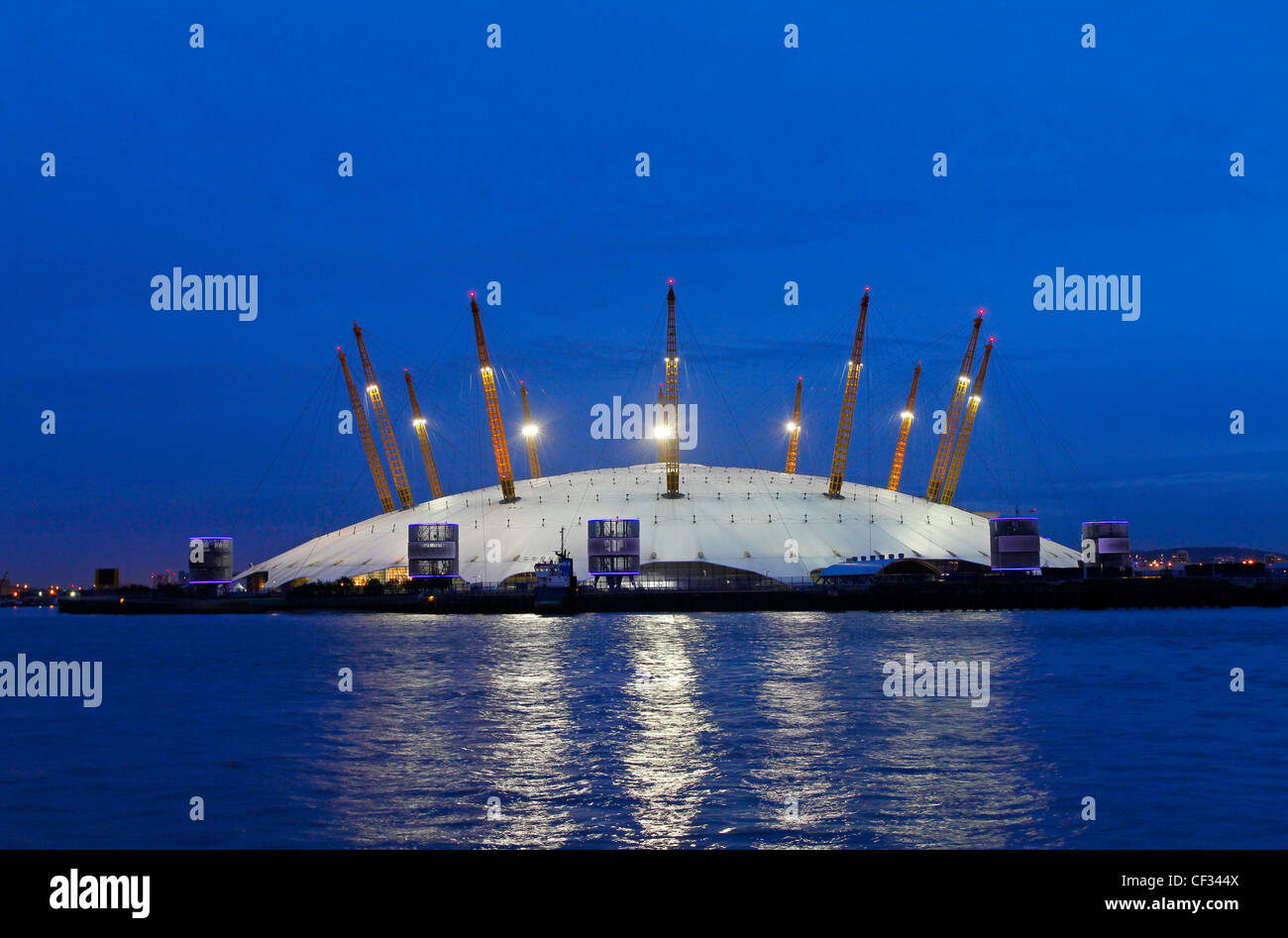 The O2, a large entertainment venue on the Greenwich peninsula which houses the O2 arena, built within the former - Stock Image