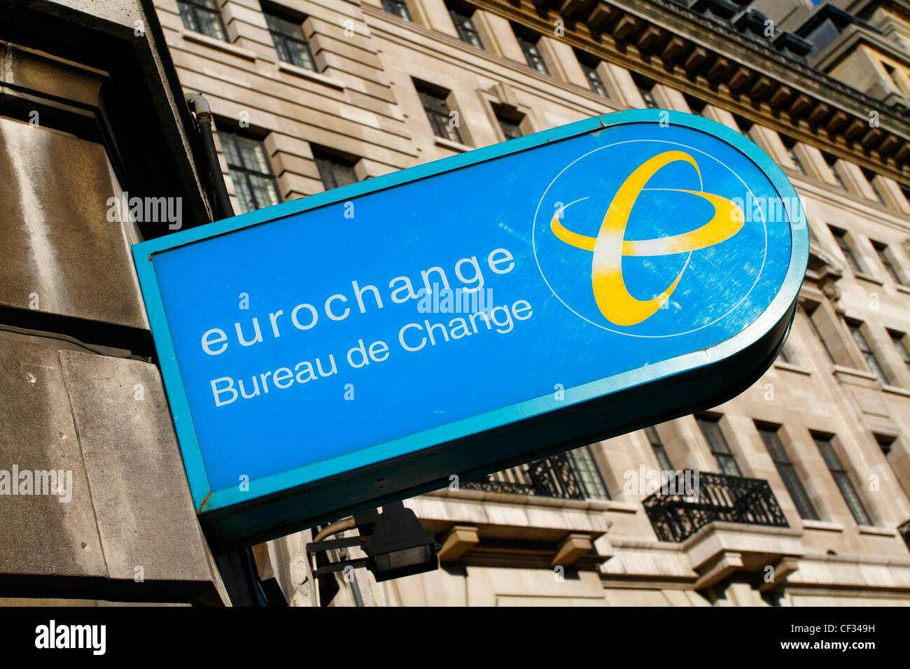 Eurochange Bureau de Change sign. - Stock Image
