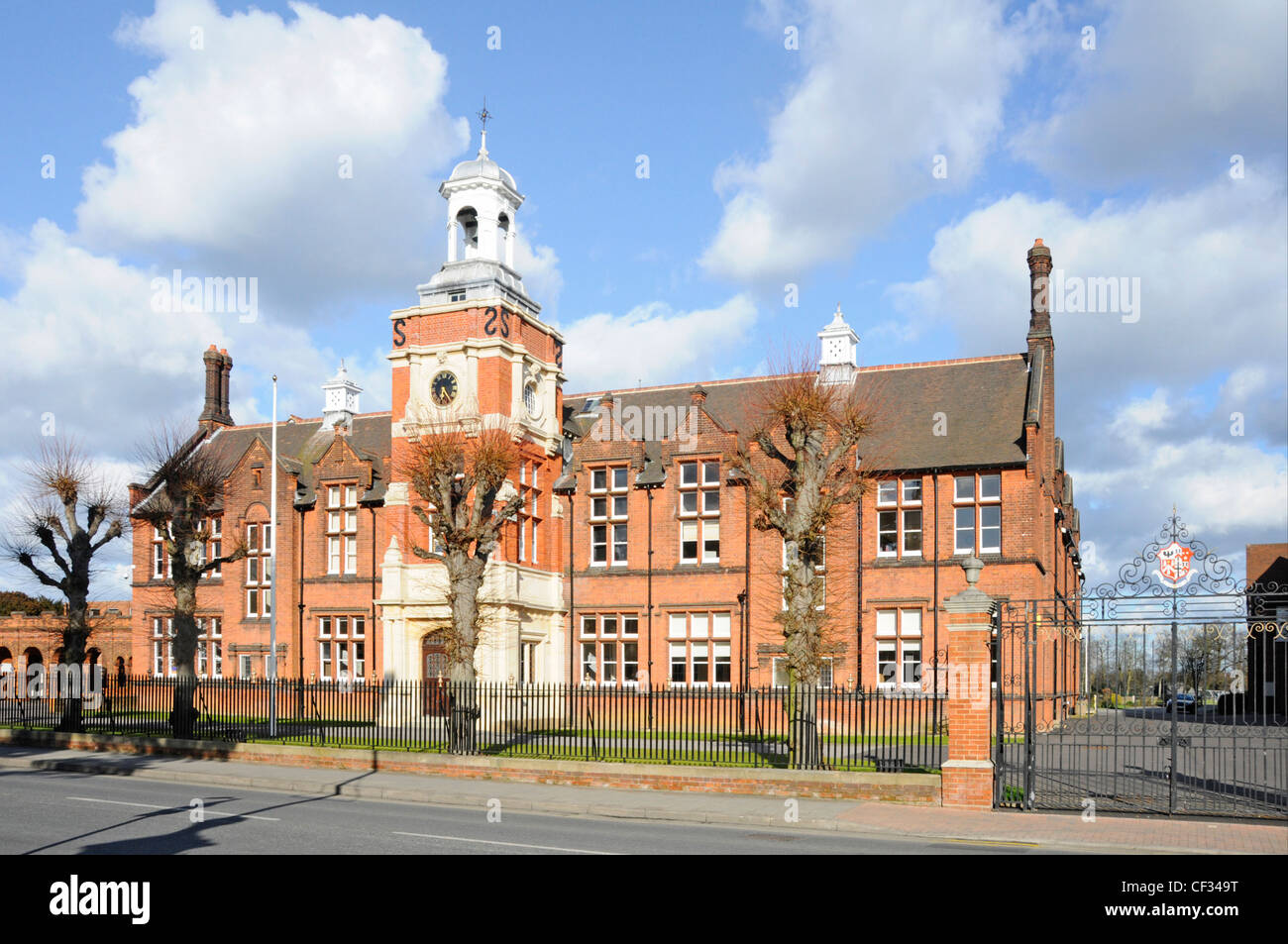 Gates & front of Brentwood School main brick building private independent day & boarding school education - Stock Image