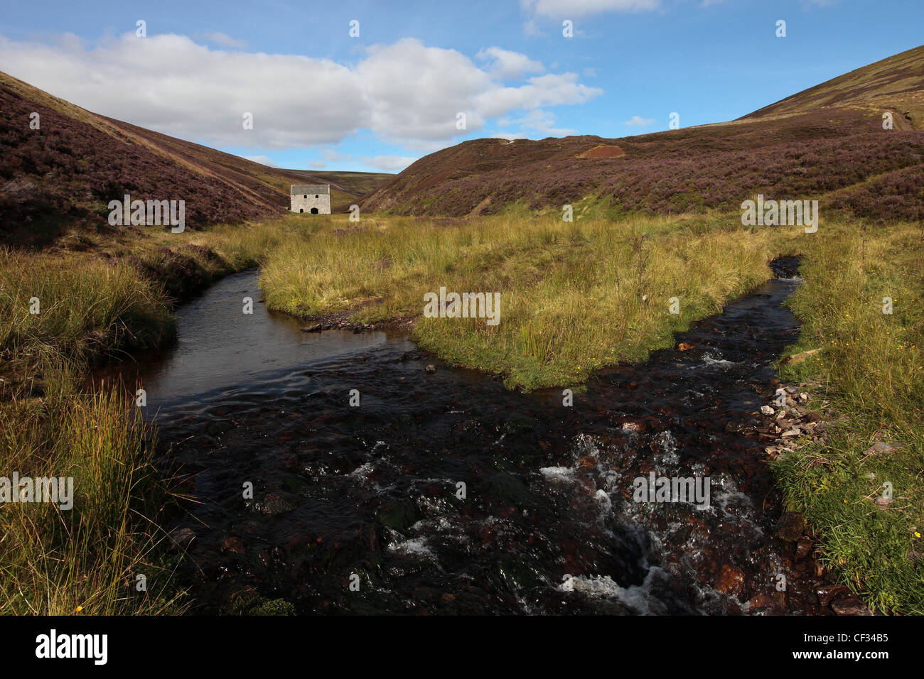 The former Lecht mine at the Well of the Lecht. The mine was the most actively worked manganese mine in Scotland - Stock Image