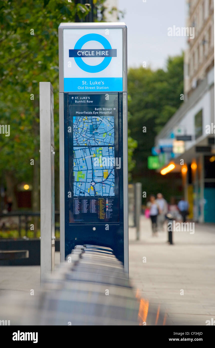 A Barclays Cycle Hire docking station. - Stock Image