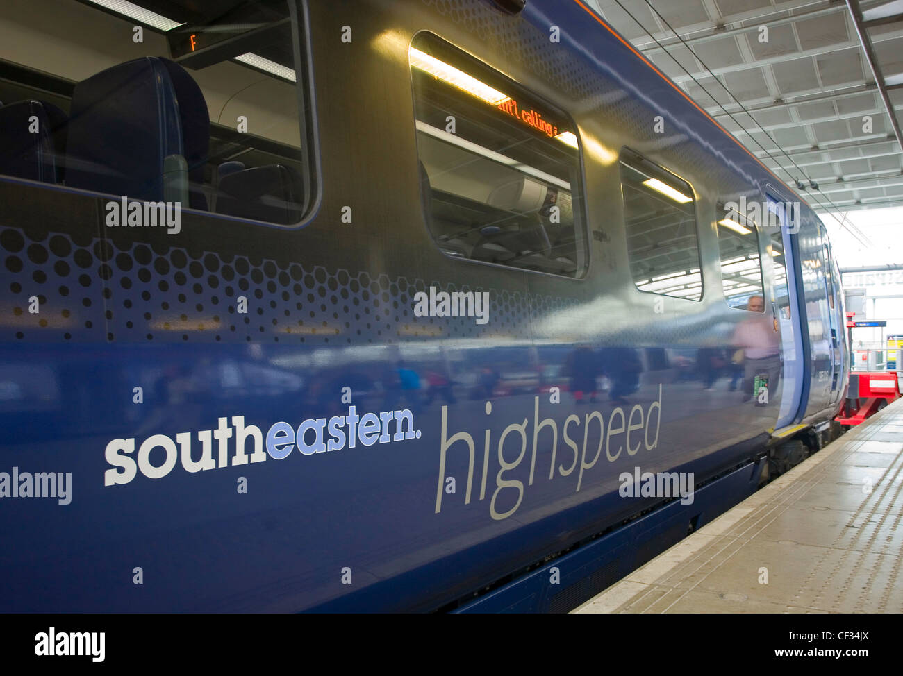 Southeastern highspeed train by a platform at St Pancras station. High Speed 1 (HS1), is the UK's first high - Stock Image