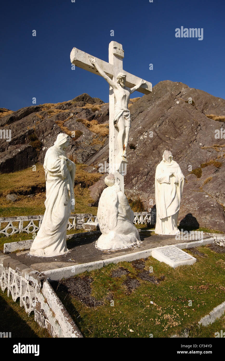 Crucifix And Holy Statues At The Top Of Healy Pass; County Cork Ireland Stock Photo
