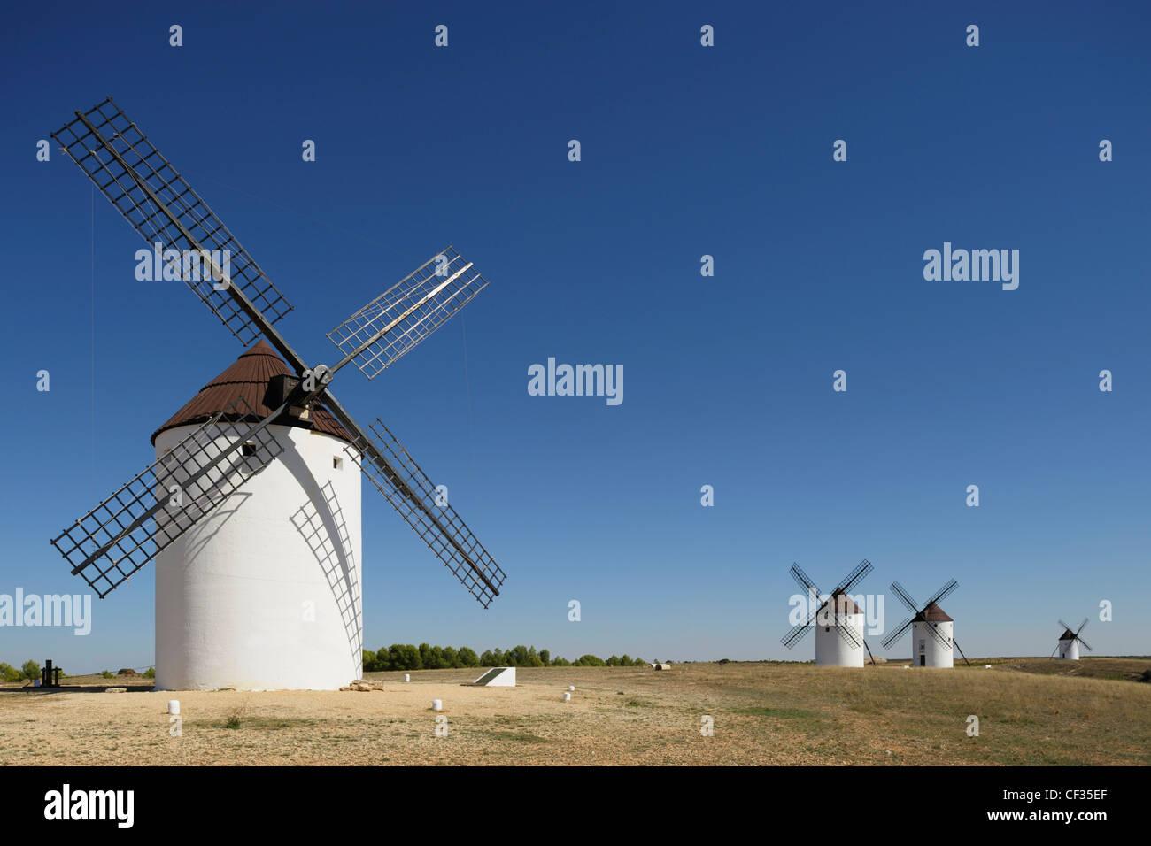 Windmills Of La Mancha; Mota Del Cuervo Cuenca Province Castile-La Mancha Spain - Stock Image