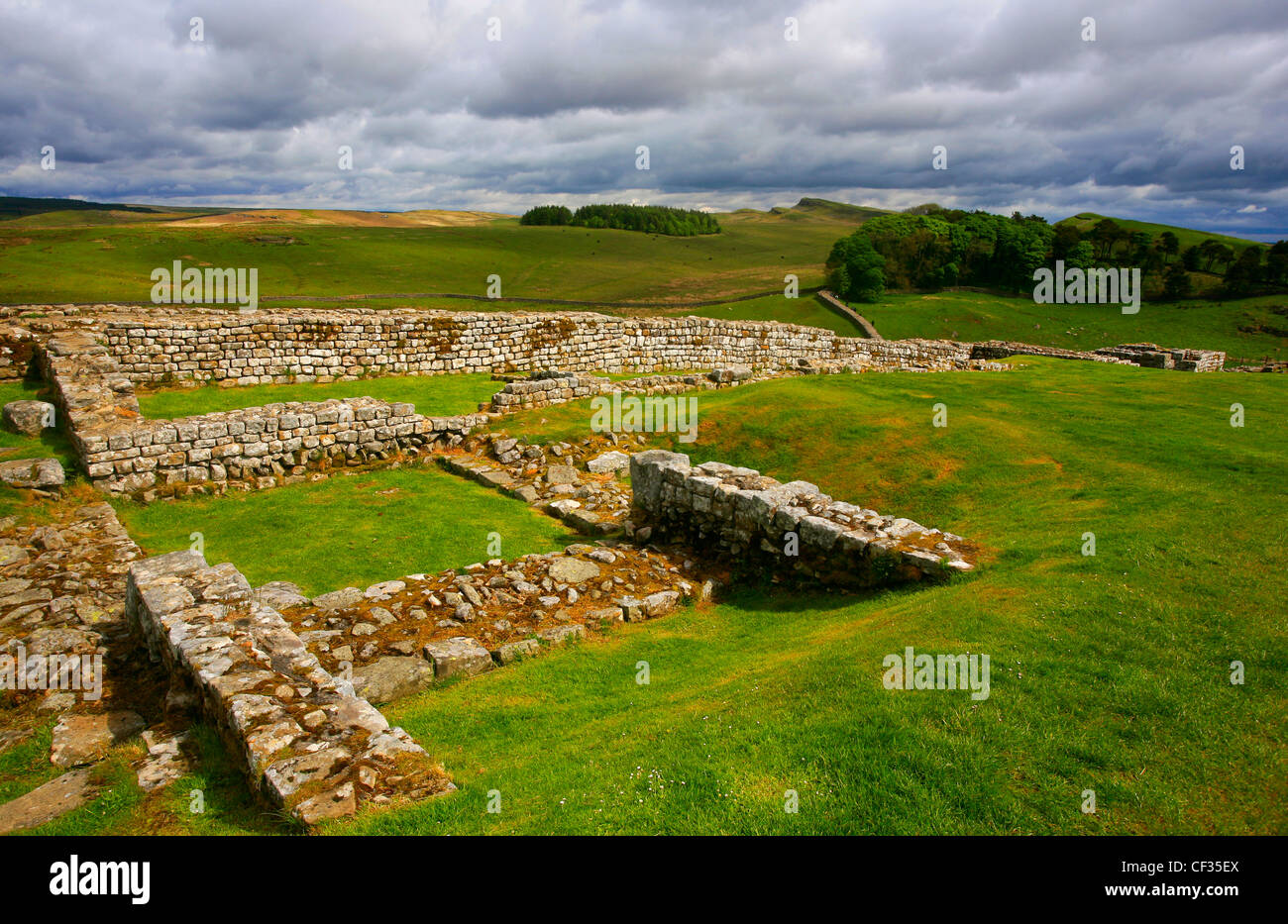 North gate of Housesteads Roman Fort, the most complete Roman fort in Britain on Hadrian's Wall. - Stock Image