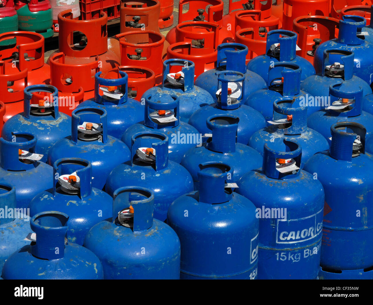Calor gas Propane and Butane cylinders. - Stock Image