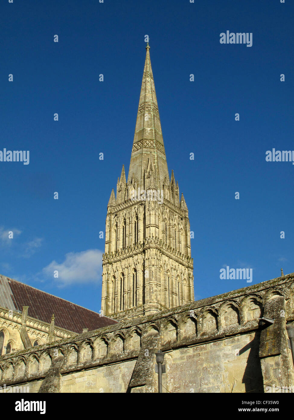 The spire of Salisbury Cathedral, the tallest church spire in the UK. - Stock Image