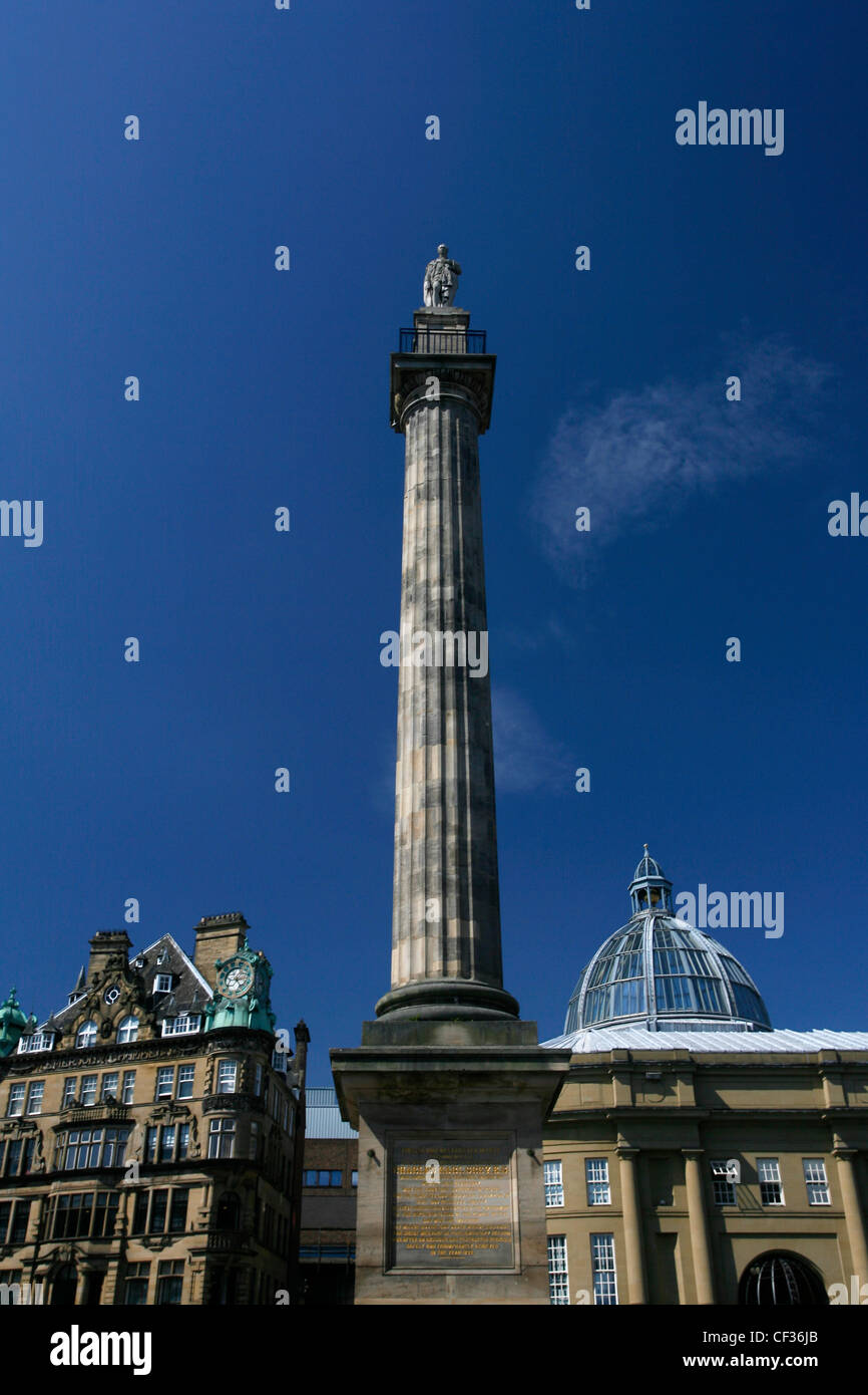 Monument built to commemorate the services of Charles Earl Grey in the centre of Newcastle upon Tyne. - Stock Image