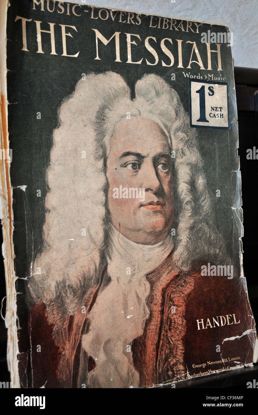 An old musical volume of Handel's 'The Messiah'. - Stock Image