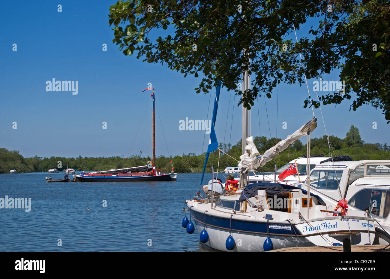 Boats moored at Ranworth Staithe fronting Malthouse Broad in the Norfolk Broads. - Stock Image
