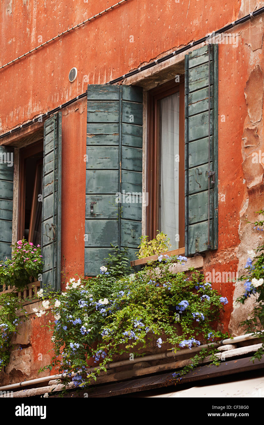 Window And Flower Box On A Building; Venice Italy - Stock Image
