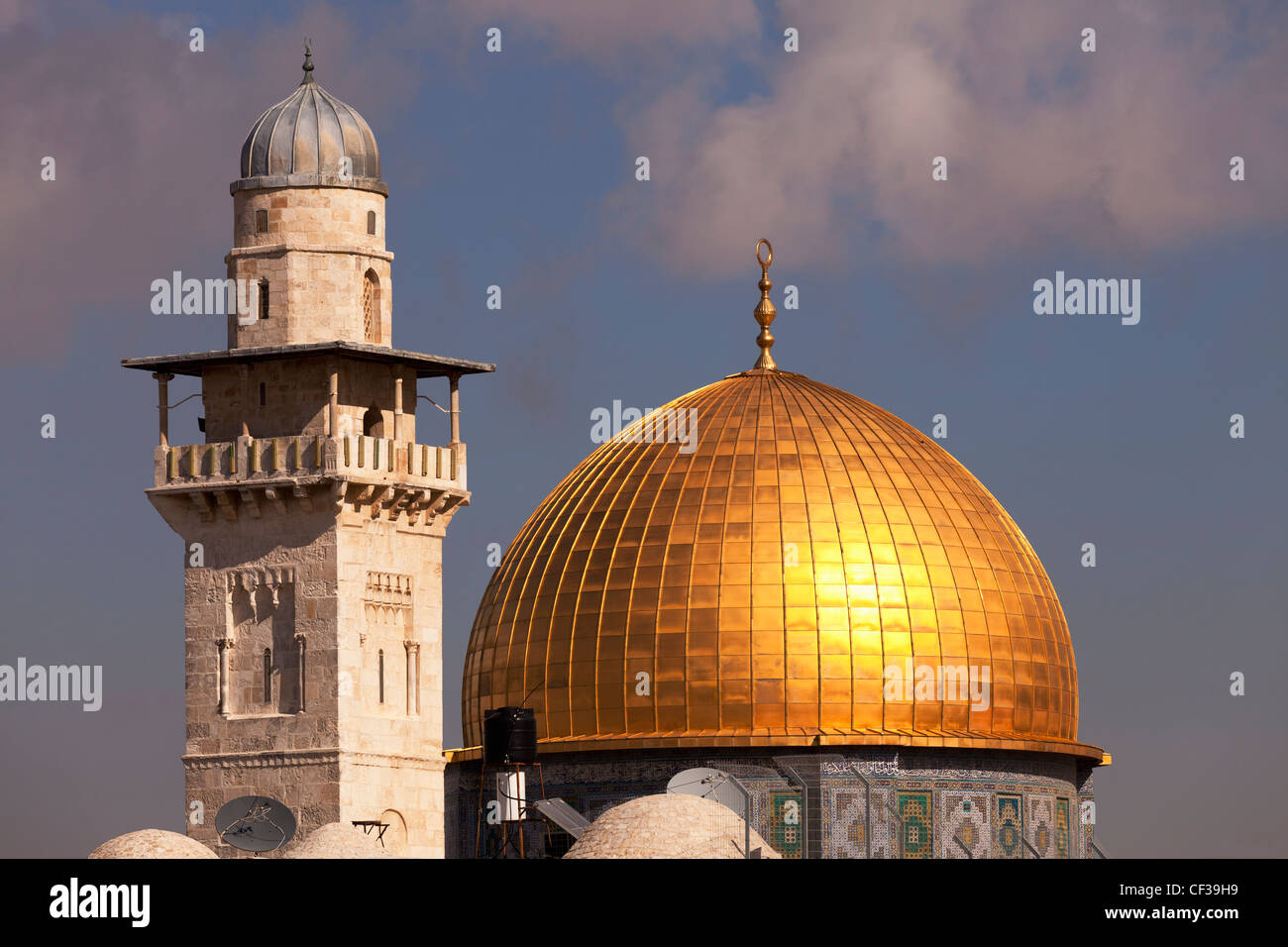 Israel,Jerusalem,Dome of the Rock and minaret Stock Photo