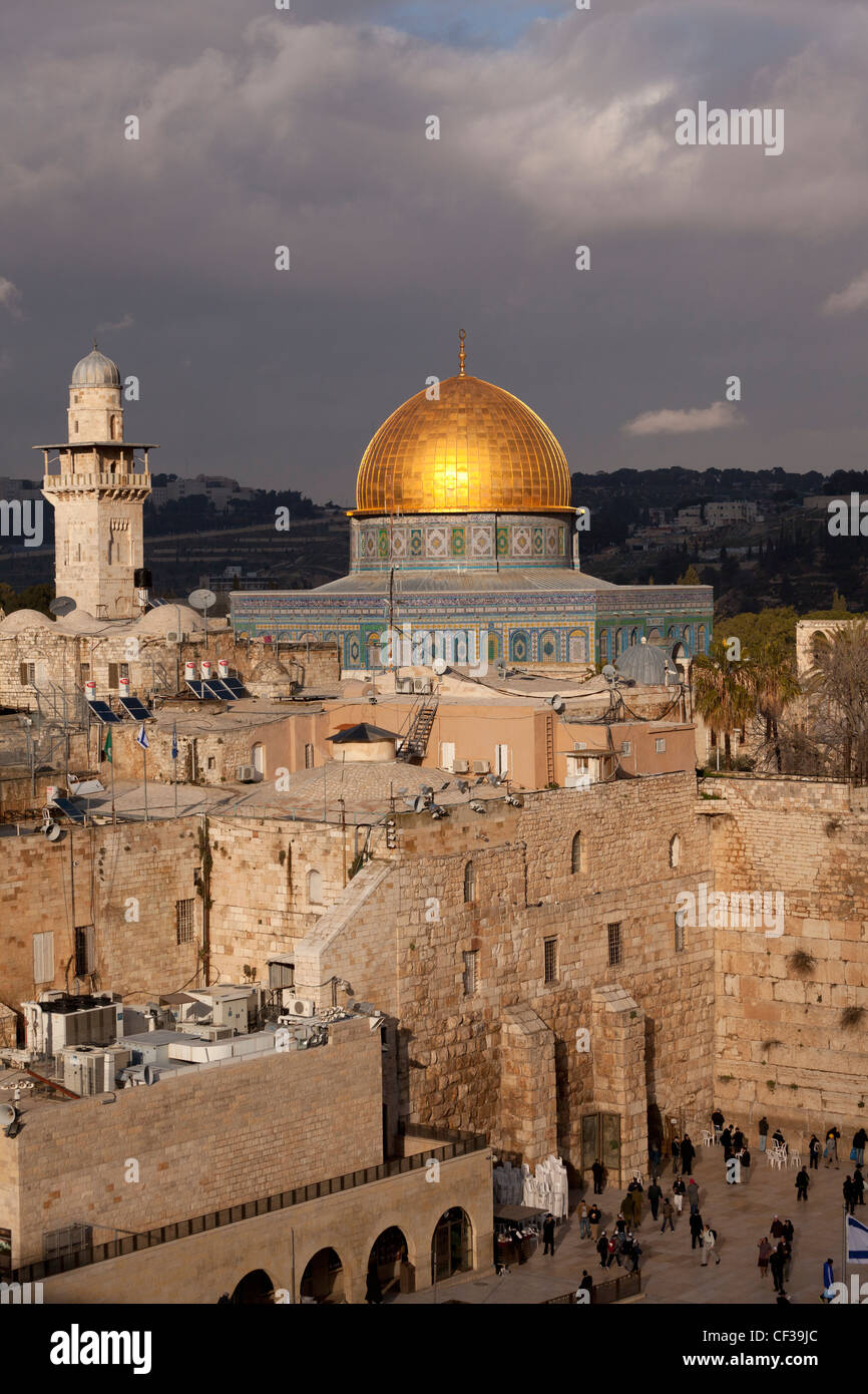 Israel, Dome of the Rock and the Wailing Wall Stock Photo