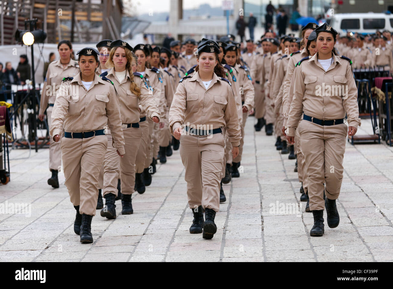 Israel,Jerusalem,Wailing Wall, women soldiers on parade - Stock Image