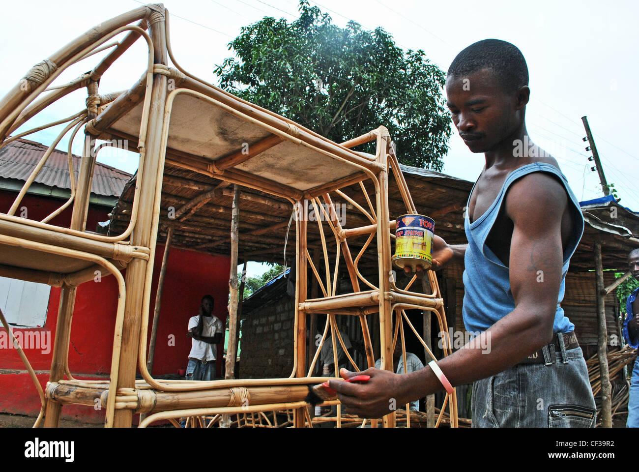 A Craftsman Makes Cane Furniture In Bo, Sierra Leone   Stock Image