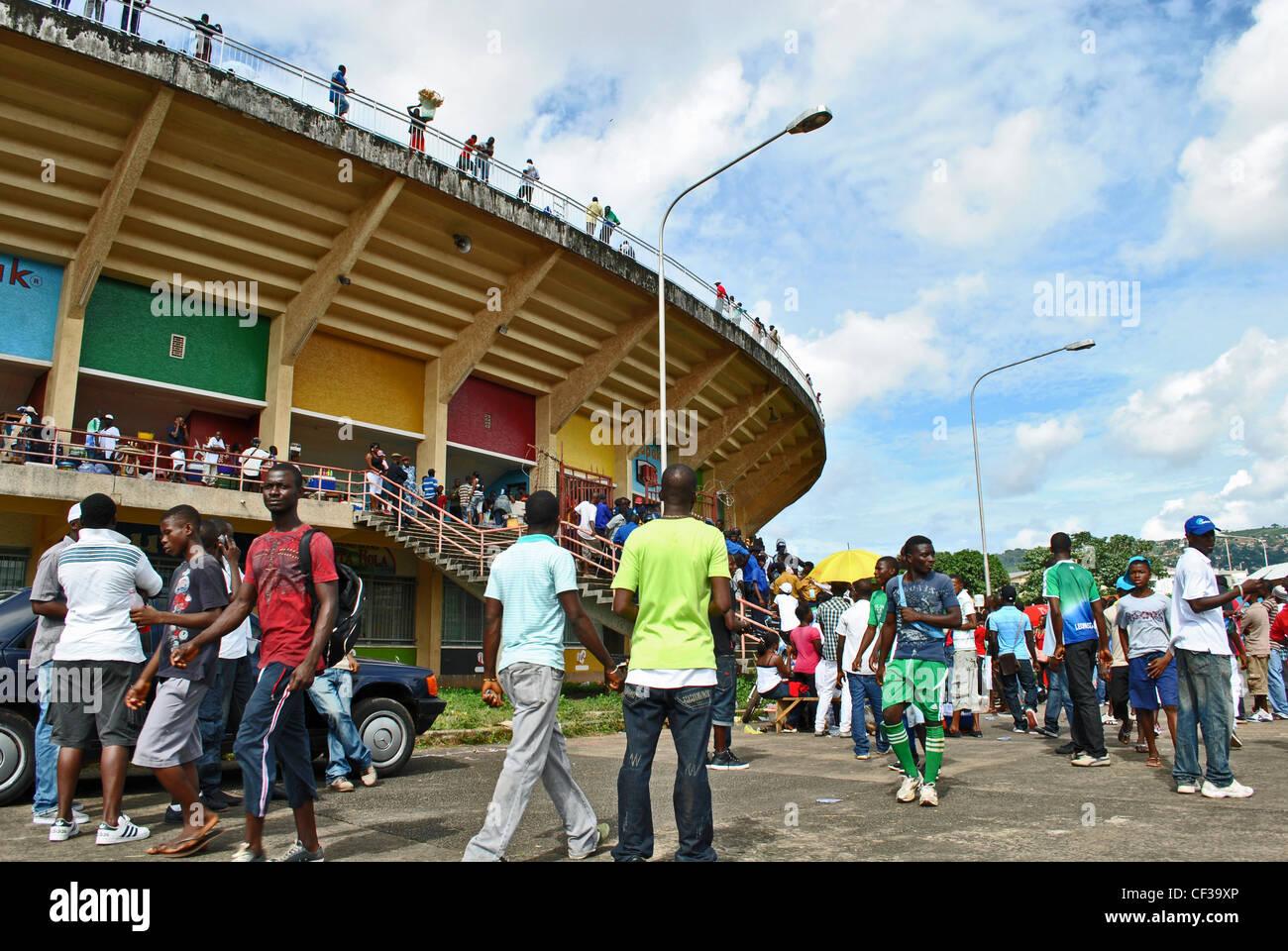 National football stadium in Freetown, Sierra Leone - Stock Image