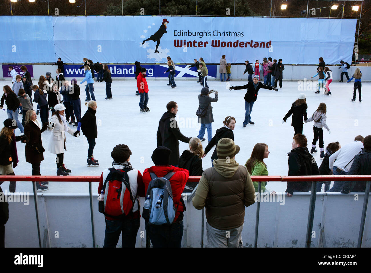 An ice ring in Princes Street Gardens at Christmas in Edinburgh. Stock Photo