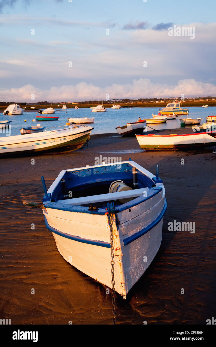 Boats Moored Near The Harbor Of Chiclana De La Frontera In Santa Petri; Andalusia Spain - Stock Image
