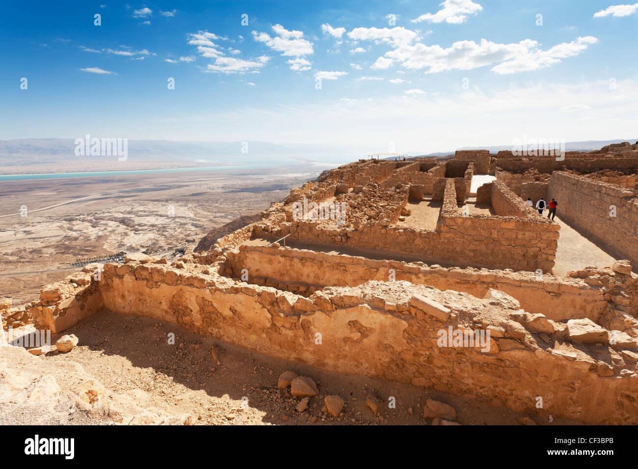 Israel, Masada fortress, the storerooms and surrounding desert Stock Photo