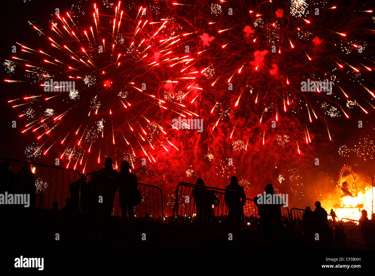 Fireworks at the Calton Hill Bonfire in Edinburgh. - Stock Image