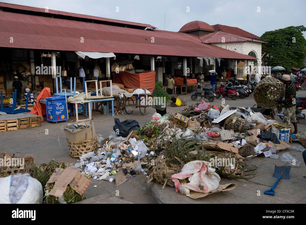 Garbage dump outside Darajani market Stone Town Zanzibar Tanzania - Stock Image