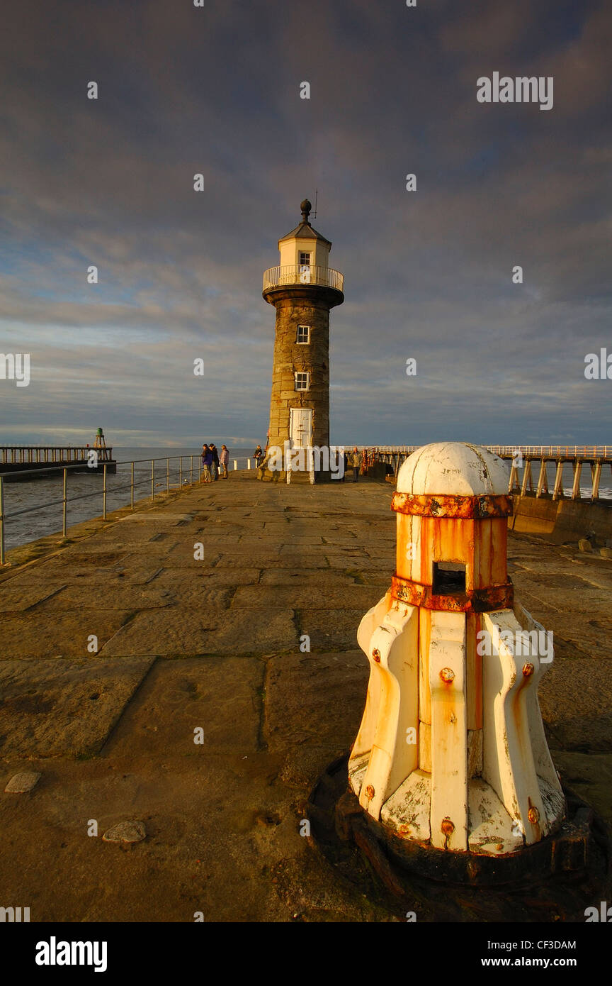 Whitby Pier taken late afternoon as the sun falls. - Stock Image