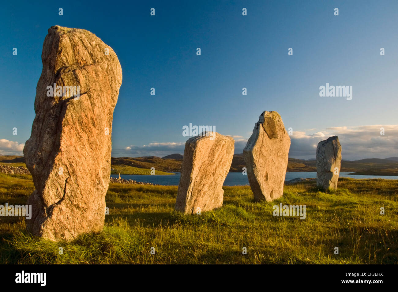 Late summer sun reflects off the ancient standing stones of Callanish 1 in the Isle of Lewis. Stock Photo