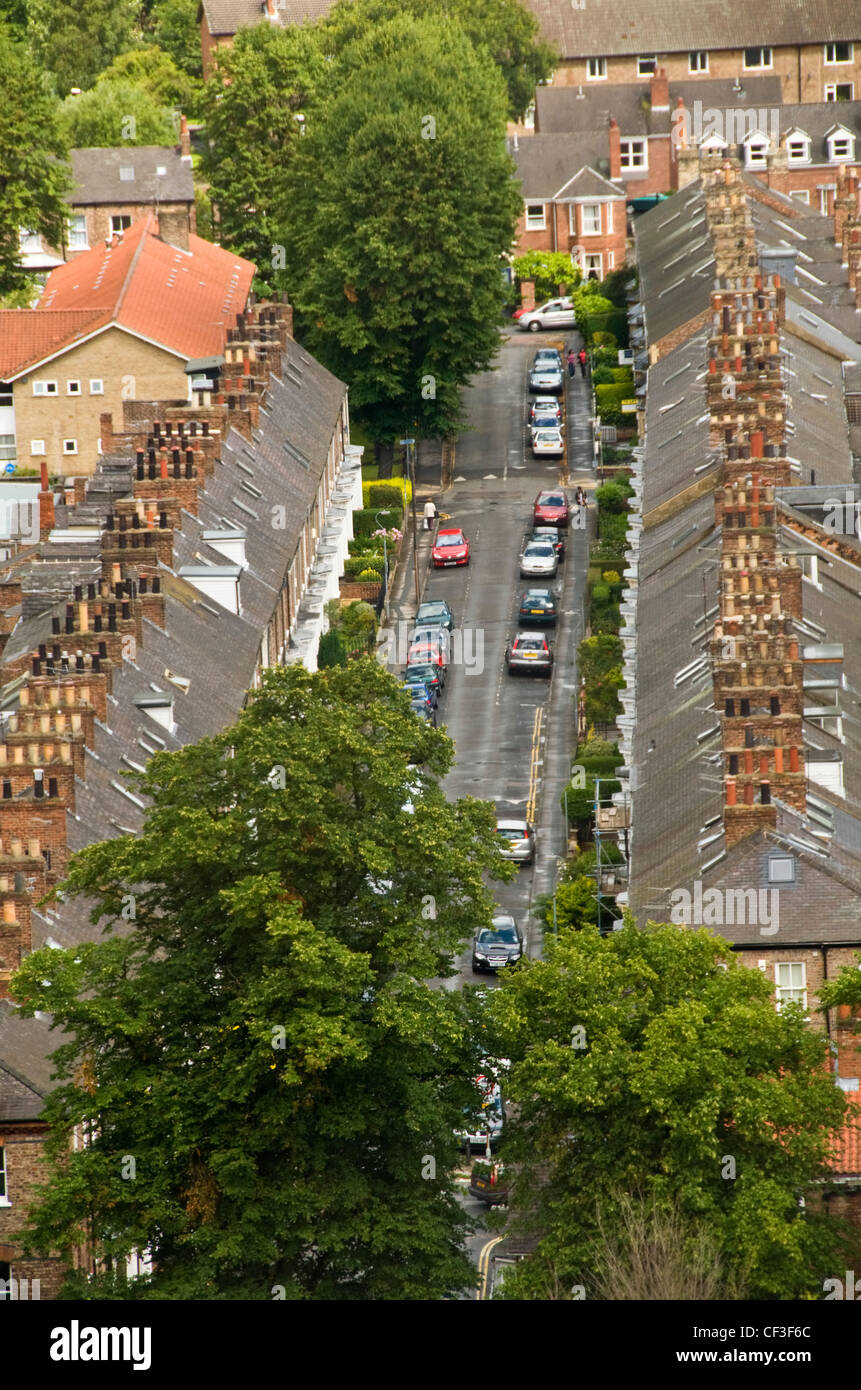 An aerial view of a traditional row of terraced houses in York. - Stock Image