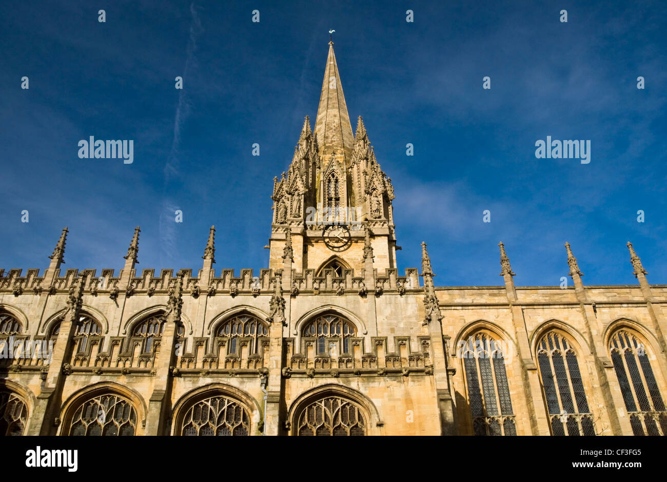 View looking up at the Church of St Mary the Virgin in Oxford. - Stock Image