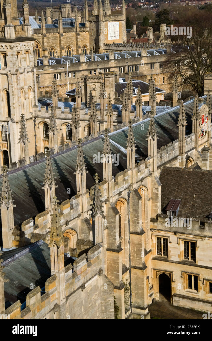 View of various colleges from the top of St Mary the Virgin Church in Oxford. - Stock Image