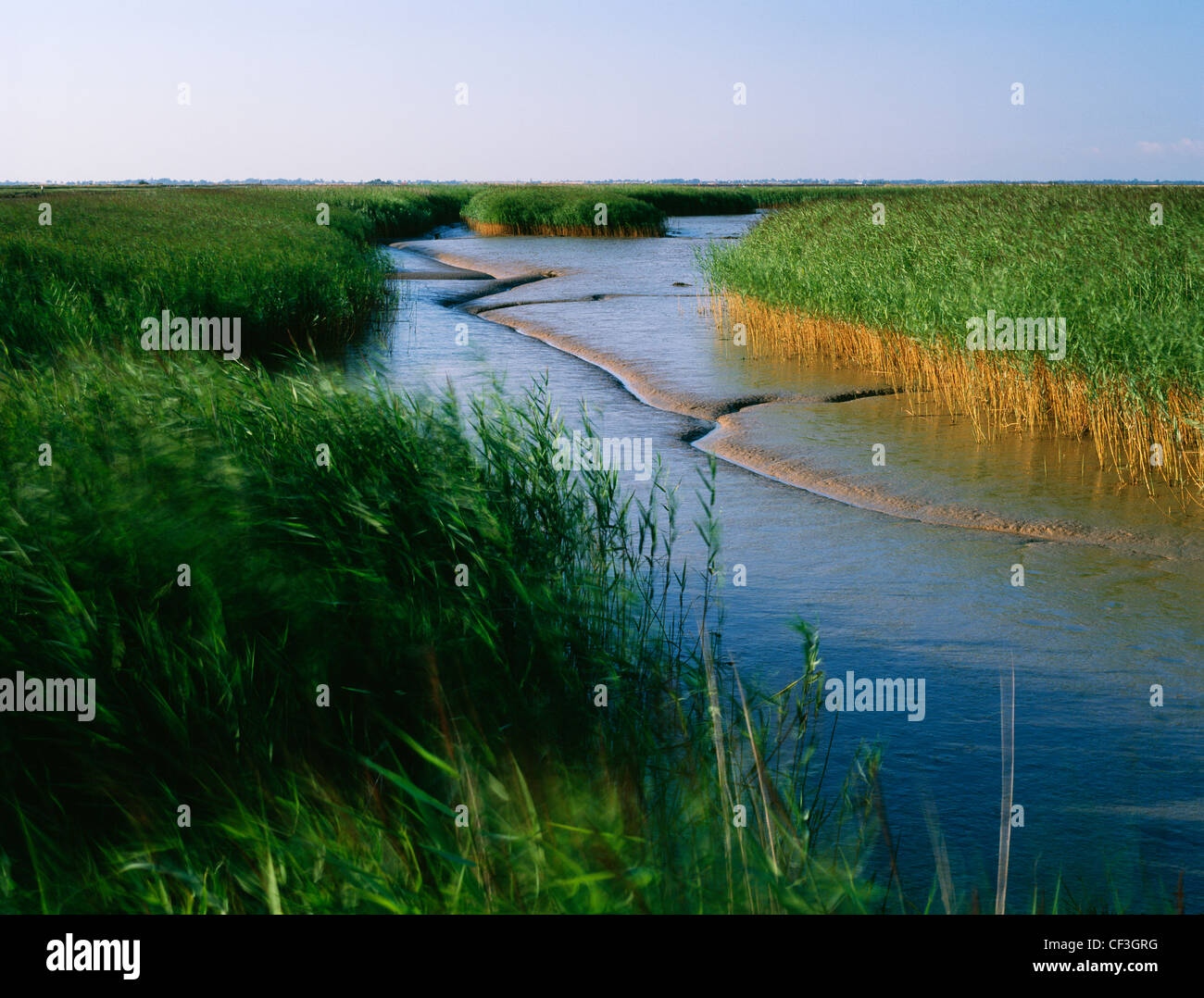 The northern end of the River Waveney, just west of Burgh Castle Roman fort, where it joins the River Yare in Breydon - Stock Image