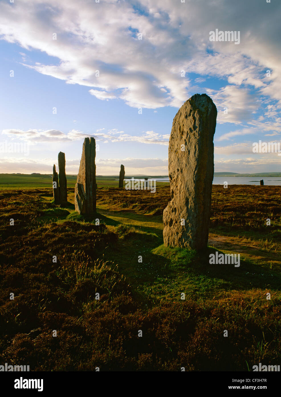Ring of Brodgar stone circle and henge looking towards the Loch of Harray. - Stock Image