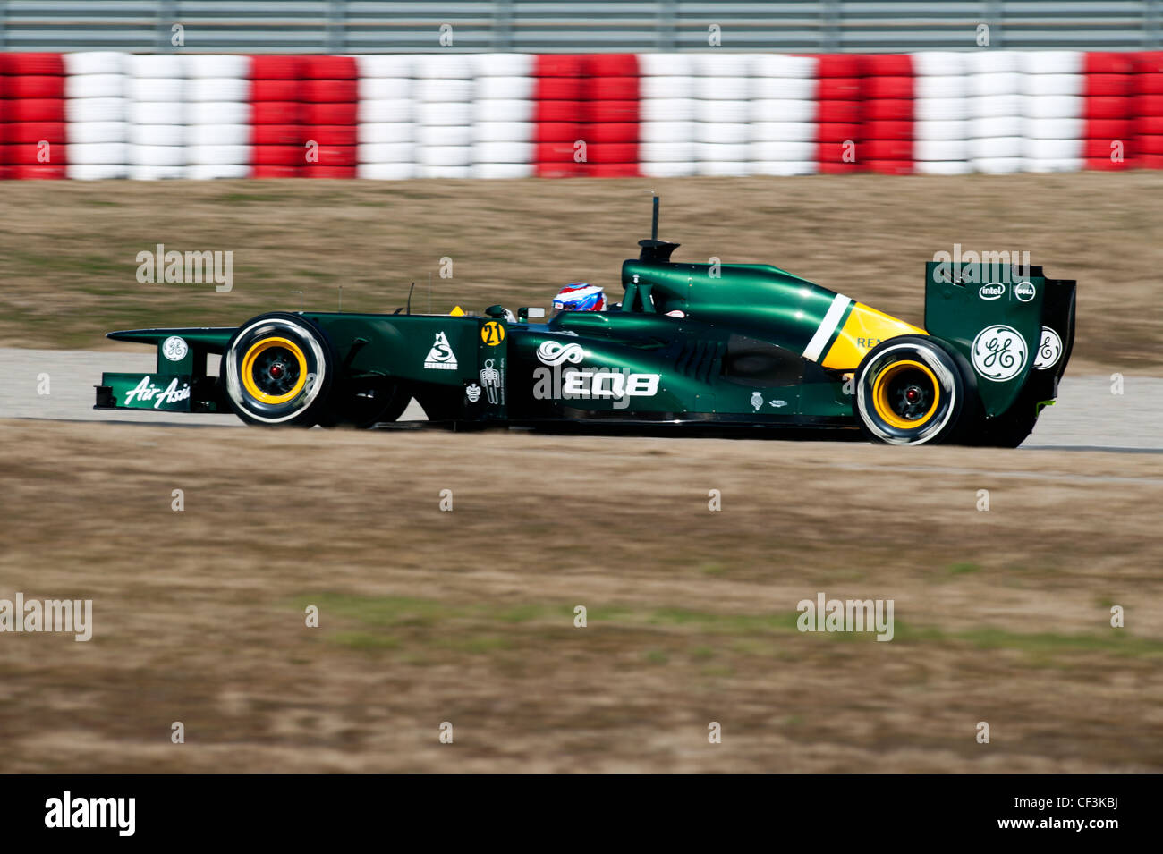 Vitaly Petrov (RUS), Caterham F1 Team-Renault CT-01, racecar during Formula 1 testing sessions near Barcelona in - Stock Image