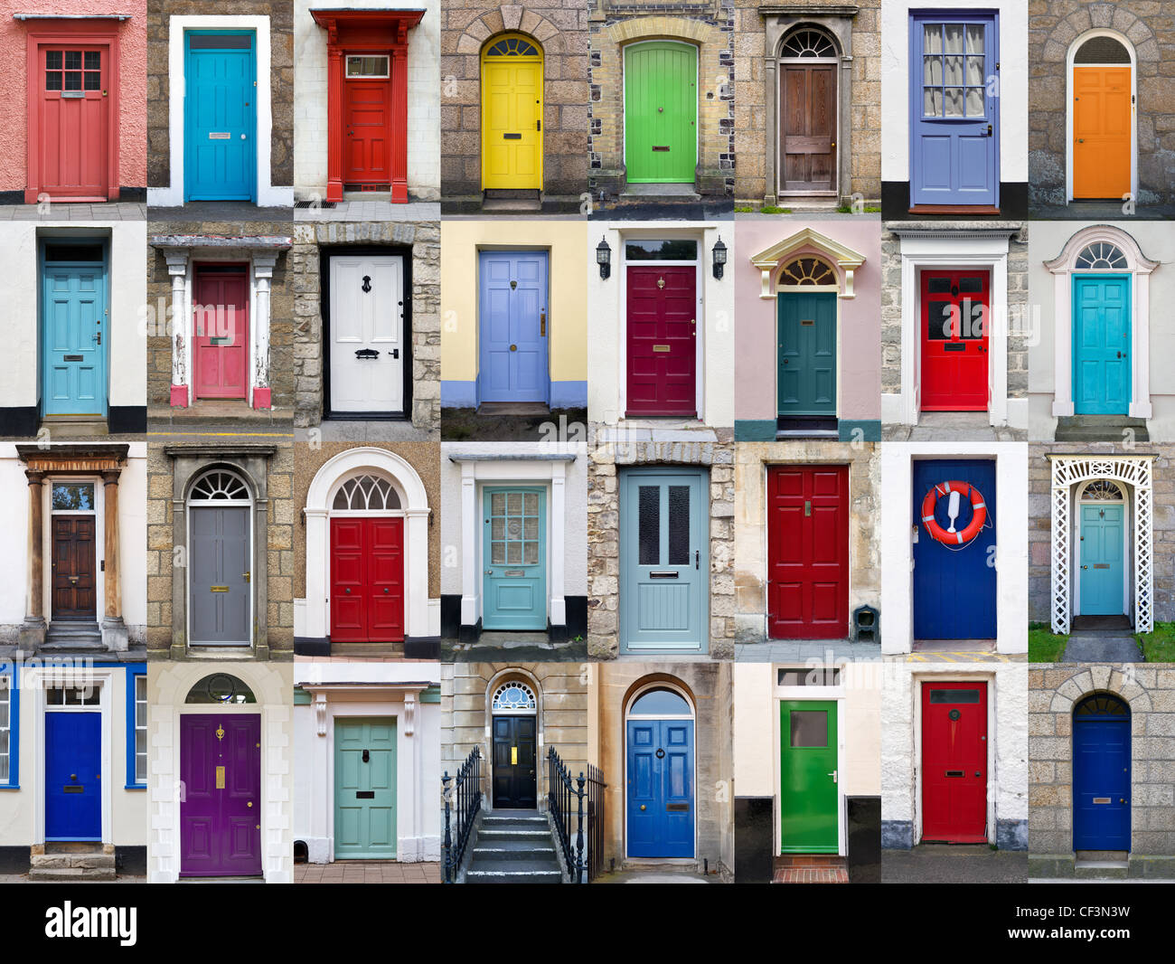 A photo collage of 32 colourful front doors to houses and homes - Stock Image