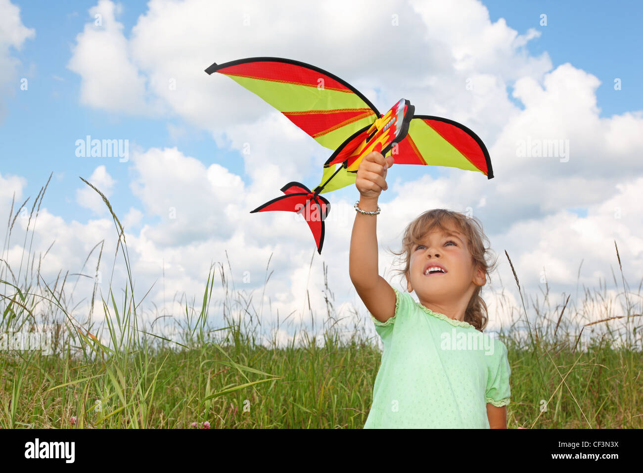 little girl plays kite on meadow - Stock Image
