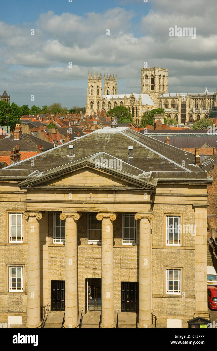 A view over the Central Methodist Church with York Minster in the background. - Stock Image