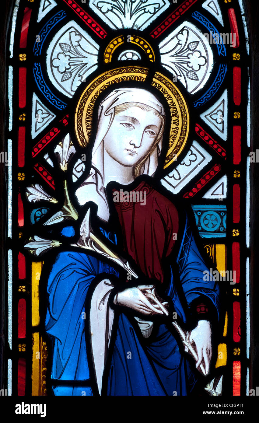 Saint Mary stained glass, Upper Stowe Church, Northamptonshire, England, UK - Stock Image