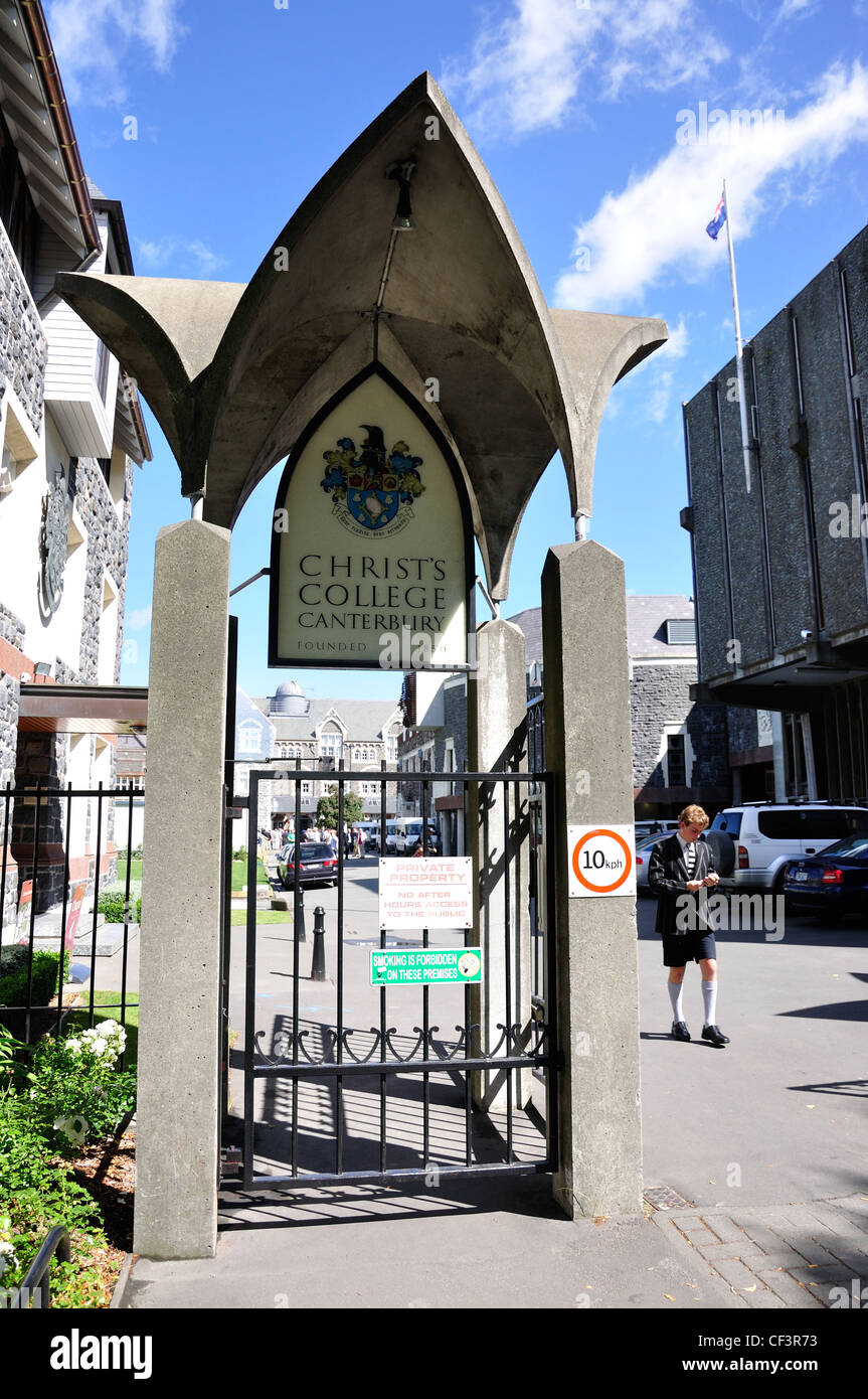 Entrance gate to Christ's College, Rolleston Avenue, Christchurch, Canterbury District, New Zealand - Stock Image