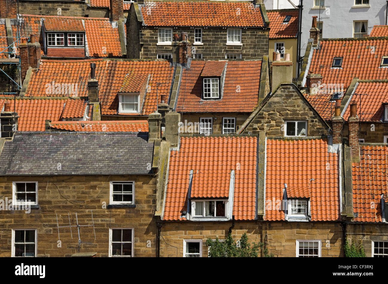 Looking over the rooftops in Robin Hoods Bay, reportedly the busiest smuggling community on the Yorkshire coast - Stock Image