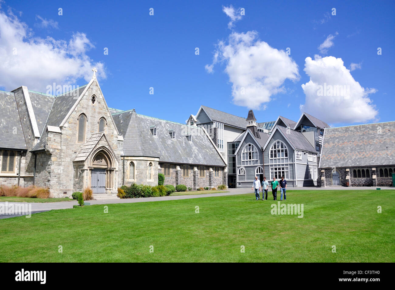 Quadrangle and chapel, Christ's College, Rolleston Avenue, Christchurch, Canterbury District, New Zealand - Stock Image