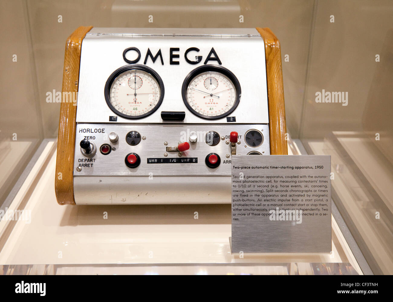 Omega two-piece automatic timer-starting apparatus, 1950, for olympic games event timing - Stock Image