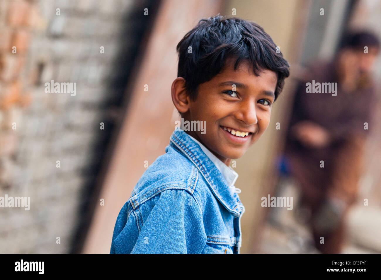 Smiling Pakistani boy, Islamabad, Pakistan - Stock Image