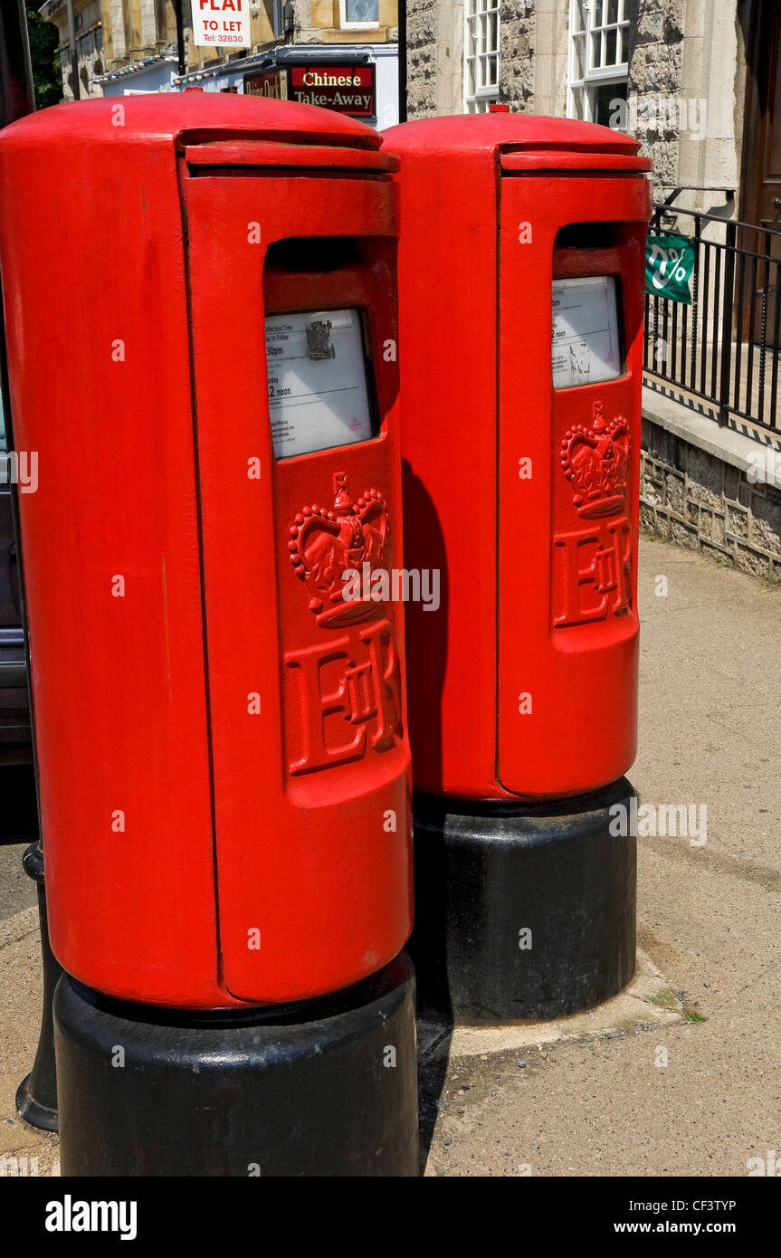 Two postboxes outside Grange-over-Sands post office. - Stock Image