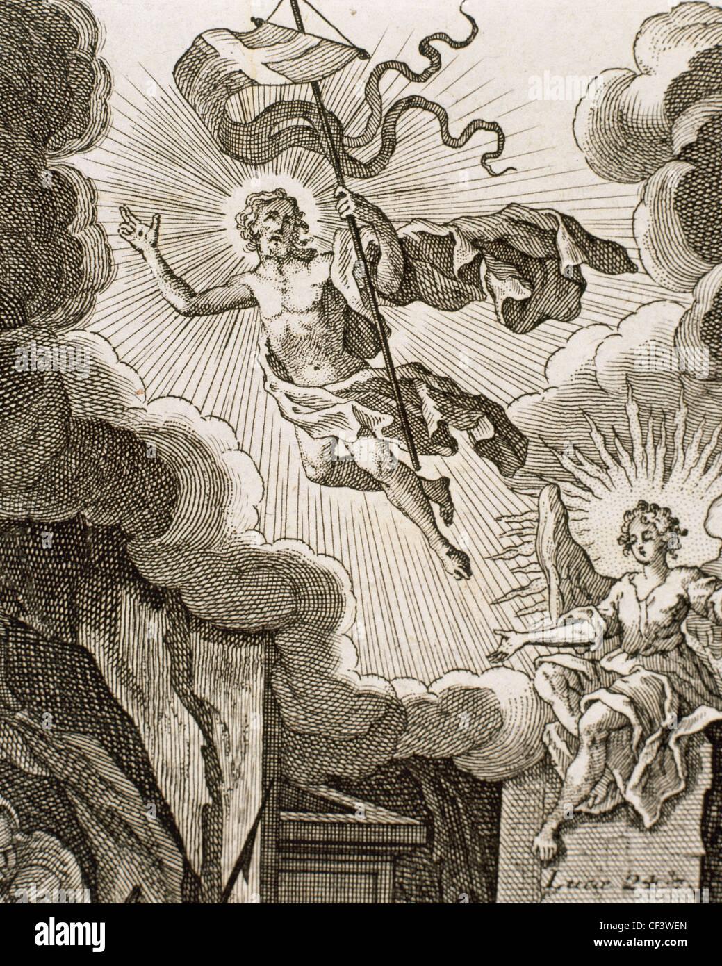 Luke 24. Resurrection of Jesus. Engraving - Stock Image