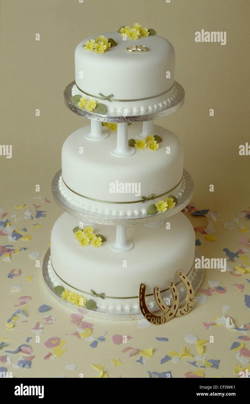 Three Tiered Wedding Cake Decorated Flowers Stock Photos Three